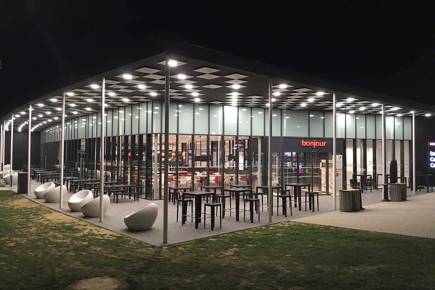 Retail architecture illustration within a rest area function on A10 in France