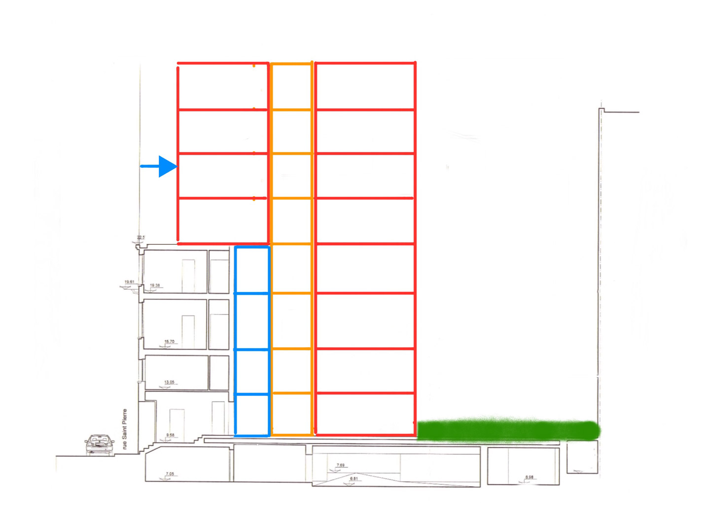 Architecture sketch describing the new setback volume topping the classified facade