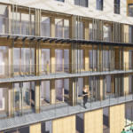 3D image of the street facade featuring protruding cantilevered passageways