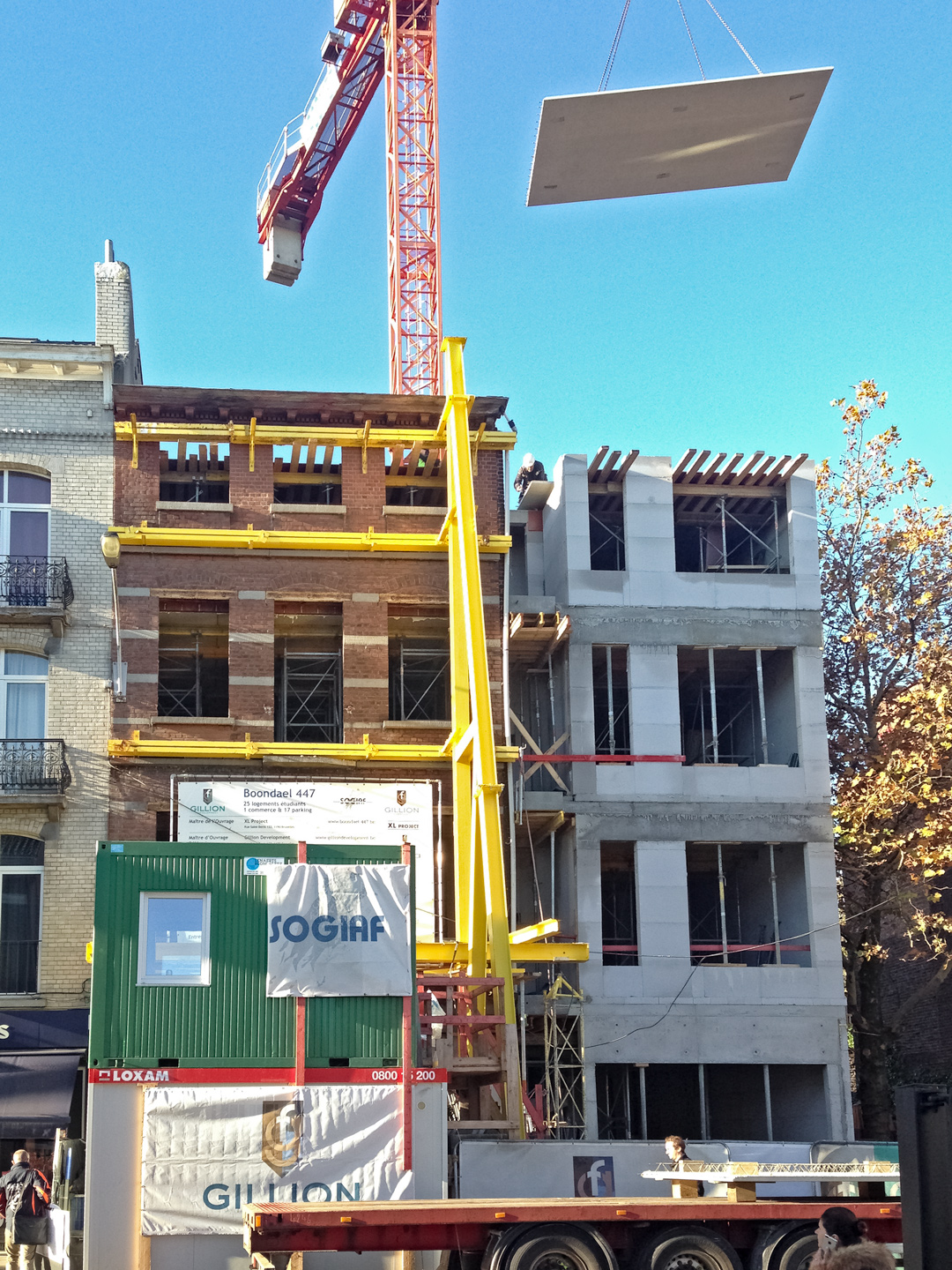 The construction process included preserving the facade overlooking the street