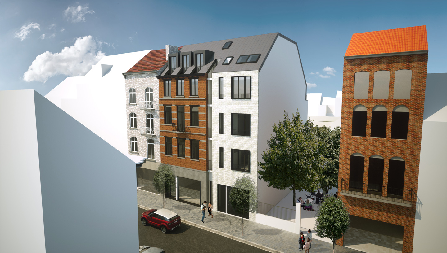 Rendering of the student housing Boondael architecture project