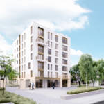 Rendered image of the mixed-use functions of the Haren project