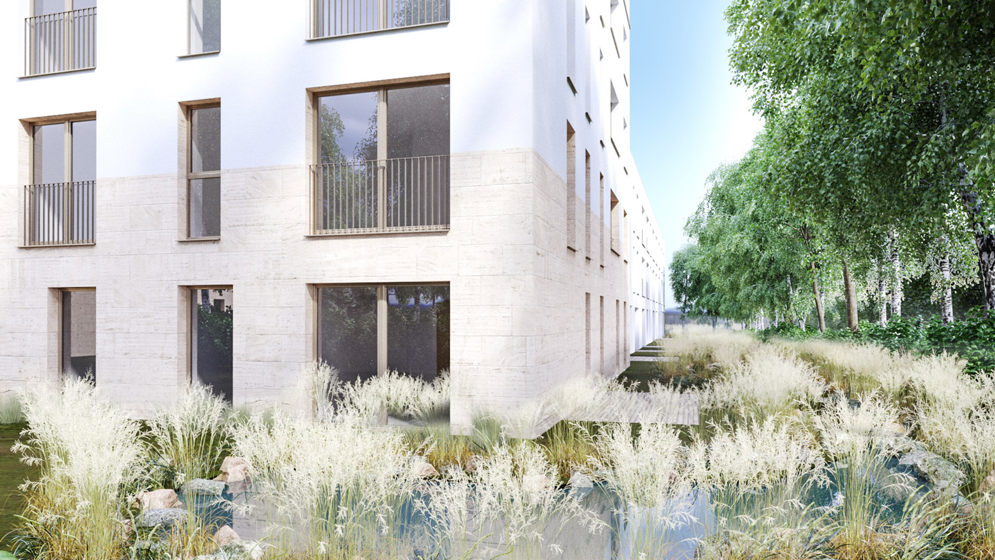 Rendering of the residential buildings displaying la mix of limestone cladding and cement finishings