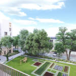 A landscaping project including a shared garden, a playground, a kitched garden, trees and grassy lawns that encourage interaction and active outdoor living