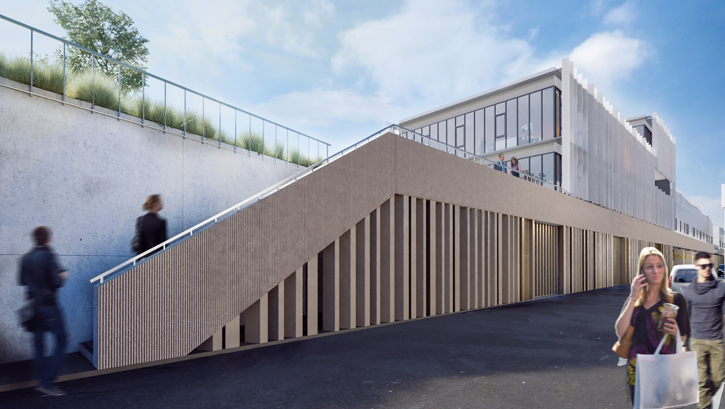 Render image of the pedestrian access to Haren station