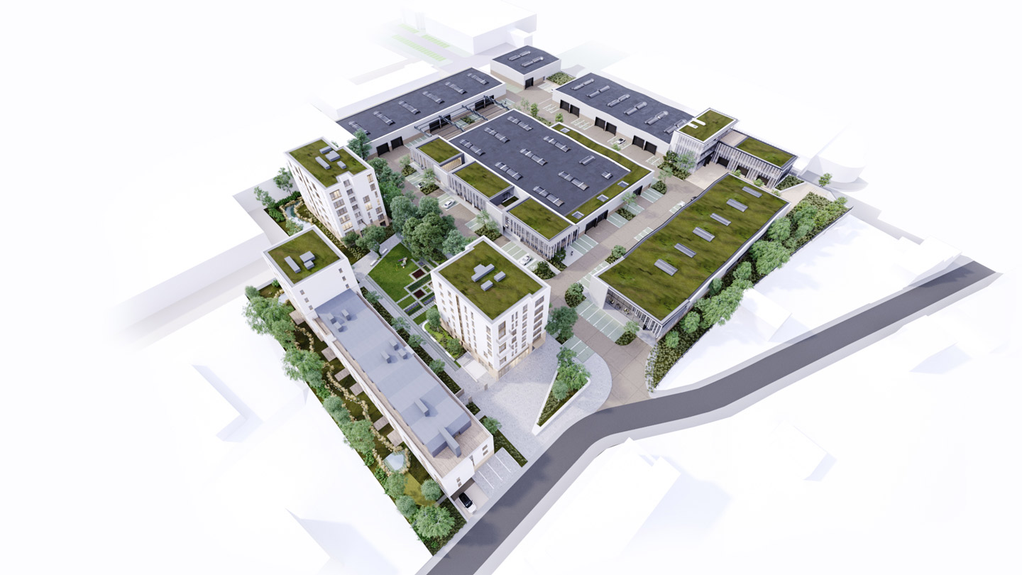 3D image of the mixed-use project of Haren where working space and living space can coexist